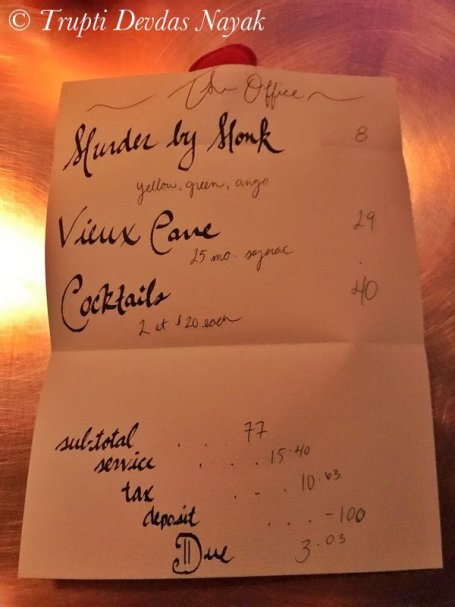 Our bill for the evening of indulgence at The Office speakeasy in Chicago