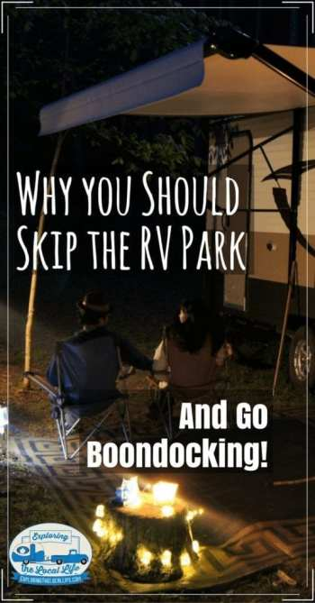 RV parks can be amazing - they have wonderful amenities, full hookups, and organized activities. I am a huge fan of boondocking though. In this post I will define boondocking, share why you should explore it, provide boondocking tips, and help you find boondocking spots. #happycampers ##fulltimervliving #rvcamping