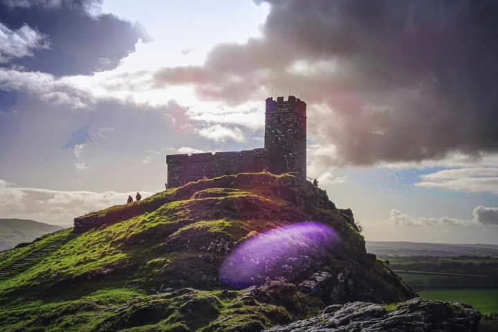 A purple halo on an ominous-looking photo of Brent Tor and Brentor Church