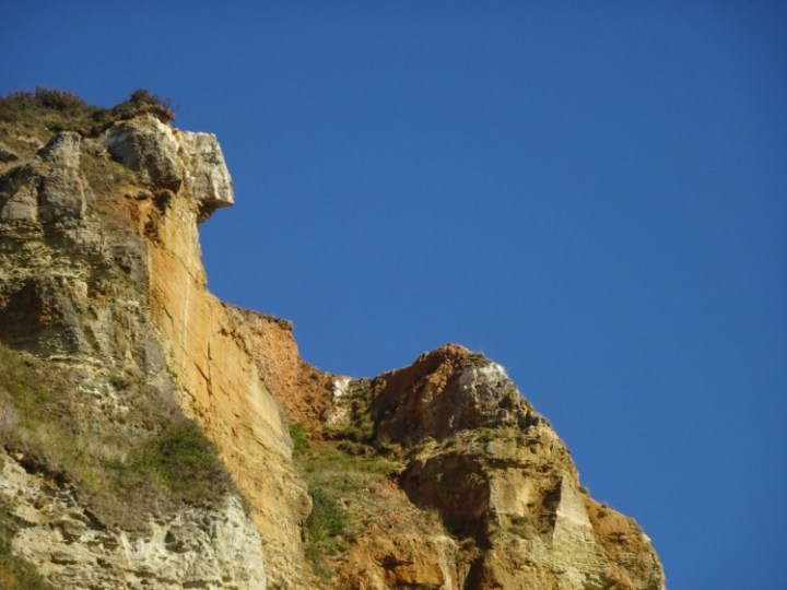 The cliffs by Salcombe Mouth Beach look like something out of Arizona