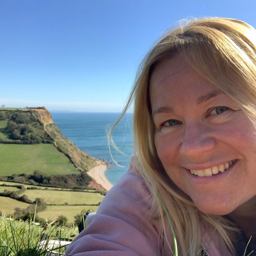 Selfie taken on Salcombe Hill with Salcombe Mouth Beach in the background