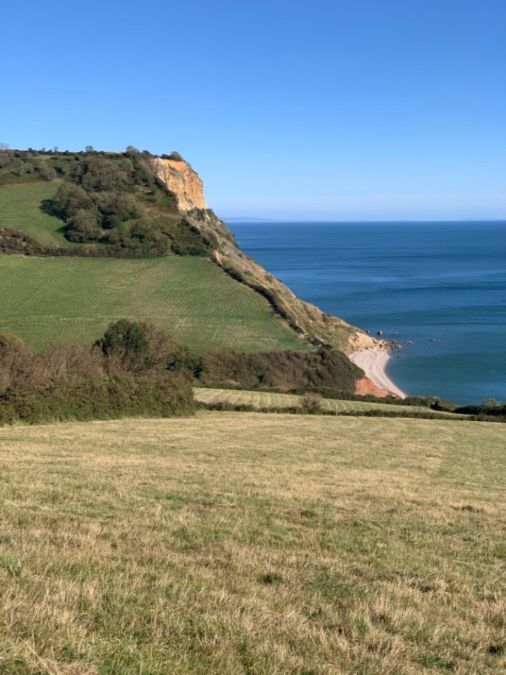 Another photo of the view of Salcombe Mouth Beach from Salcombe Hill