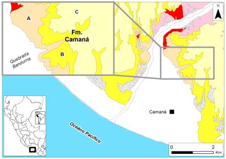 3.1. Mapa geologico de la Formacion Camana