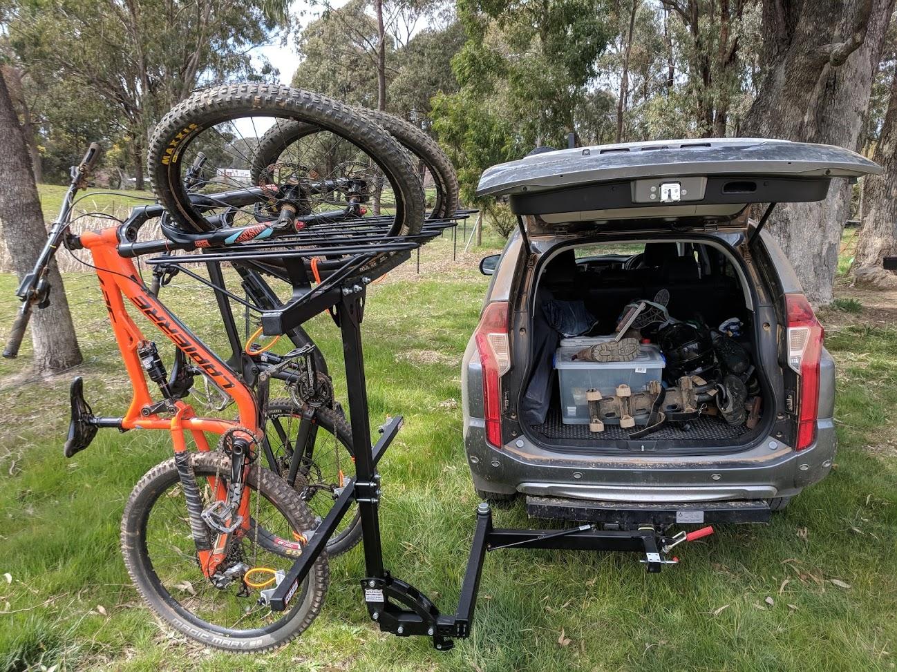 swing hitch bike rack