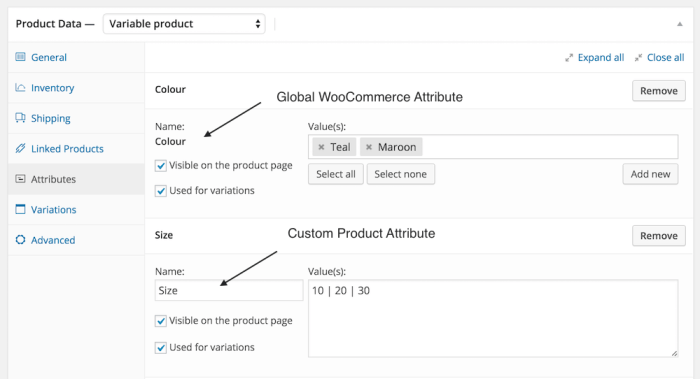 custom product attributes