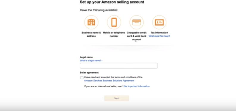 setup your amazon selling account