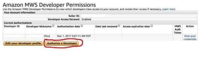 add authorization for amazon developer