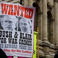 Bush & Blair wanted protest sign