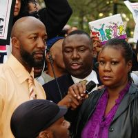 Trayvon Martin's father Tracy Martin and his mother Sabrina Fulton are seen here at the Union Square protest against Trayvon's shooting death.