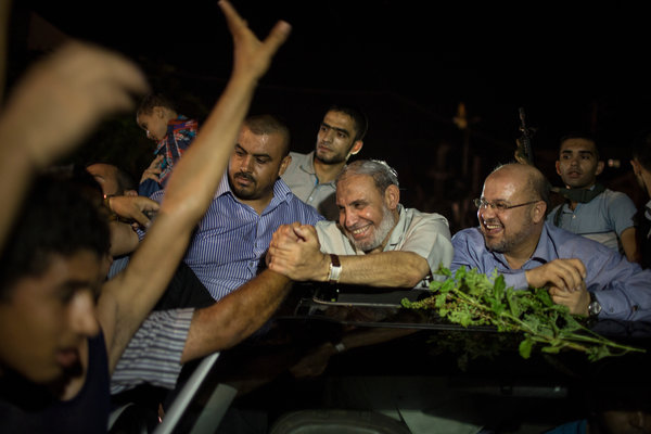 Mahmoud Zahar, a senior Hamas official, joined in the celebrations on Tuesday in Gaza City. Wissam Nassar for The New York Times