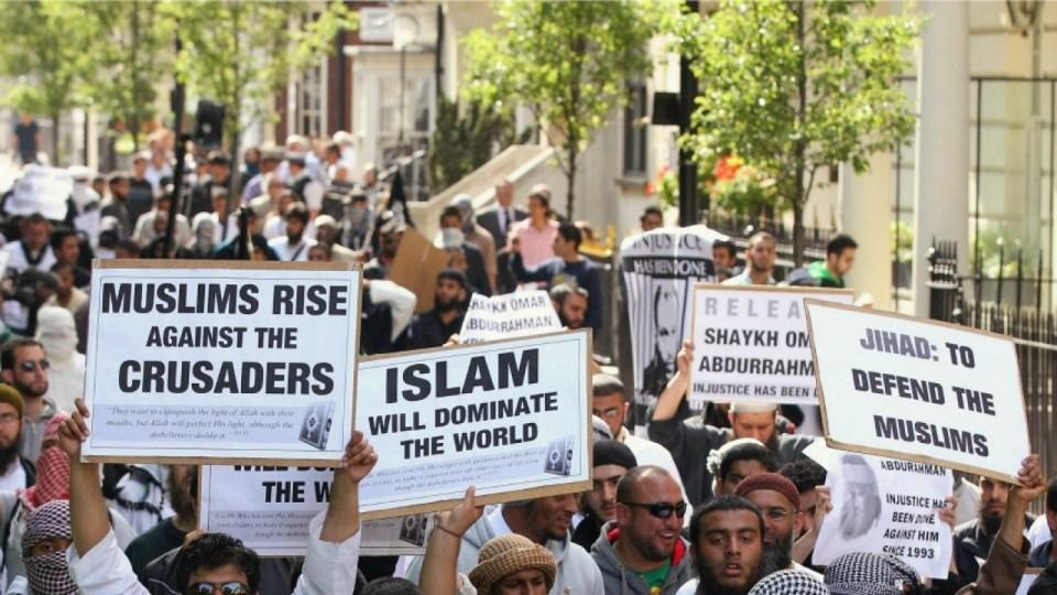 A pro-Osama Bin Laden demonstration outside the US embassy in London in 2011