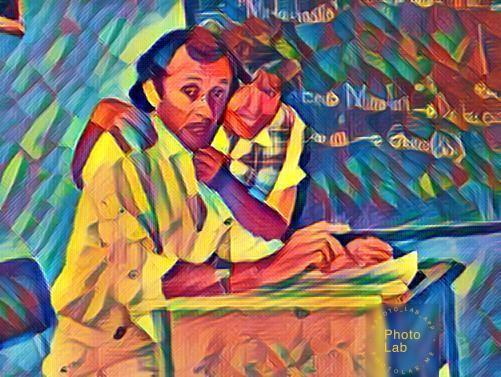 Germán y Yarime en un aula de clase del Colegio La Sagrada Familia (1988)