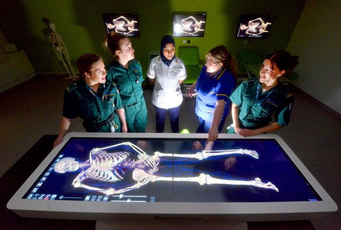 Student paramedics Chloe Nicholls, Emily Turner, student nurses Haifa Abd Al Hakeem, lecturer in adult nursing: Charlotte Bradbury, and student paramedic Lottie Hadley