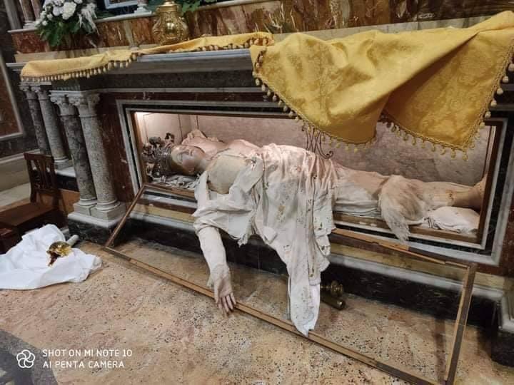 body of St Agatha of Sicily vandalised