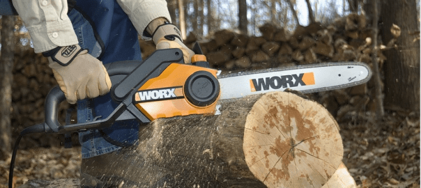 an electrical chainsaw in use