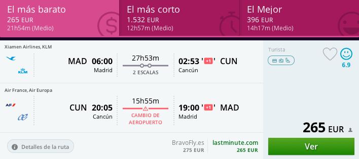 Tarifa error Madrid Cancún 265 euros