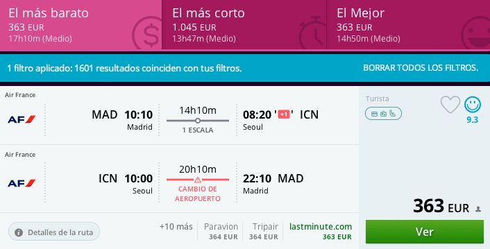 Vuelos baratos Madrid Seul 363 euros