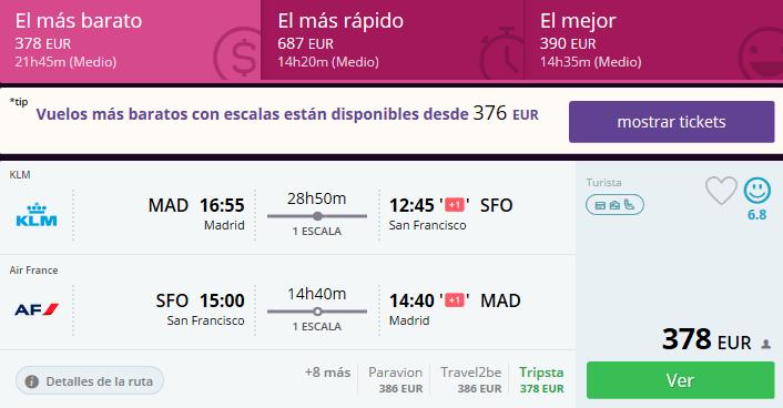 vuelos baratos Madrid San Francisco