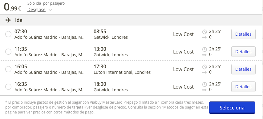 vuelos Madrid Londres 1 euro
