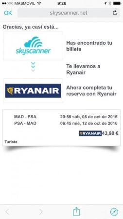 skyscanner app encontrar los vuelos más baratos