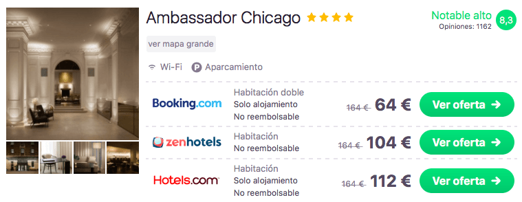 tarifa error hotel chicago 4* 32 euros