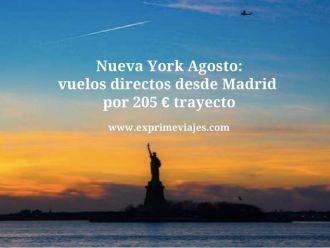 nueva york agosto vuelos directos 205 euros