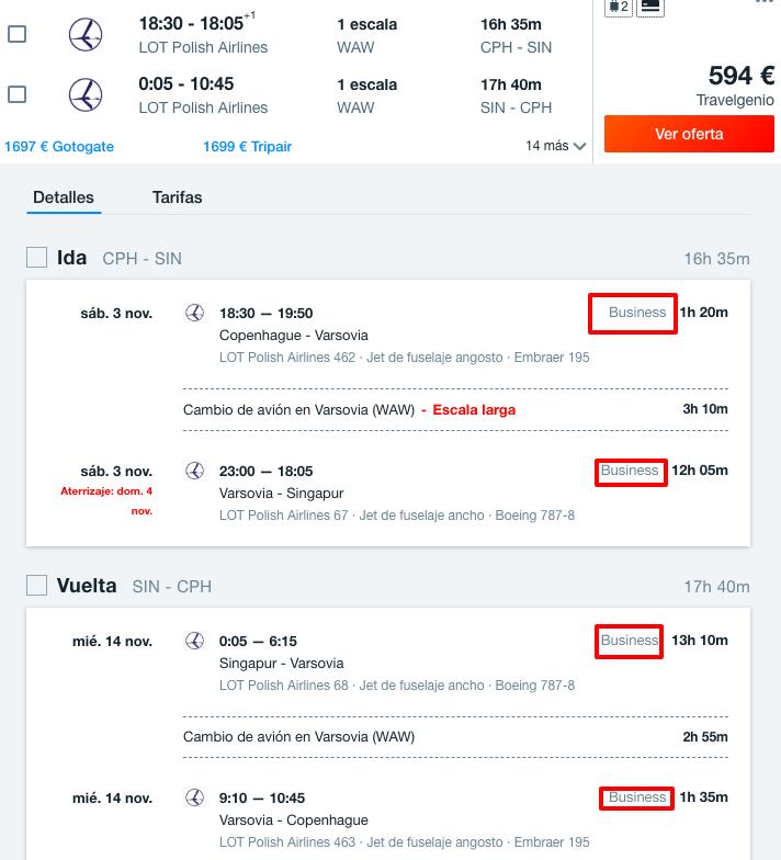 tarifa error vuelos business singapur