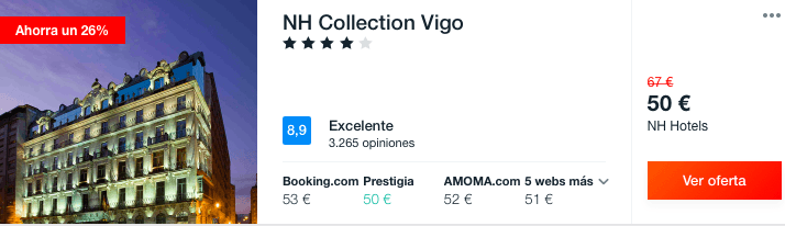 FIN DE SEMANA NH COLLECTION VIGO POR 25 EUROS