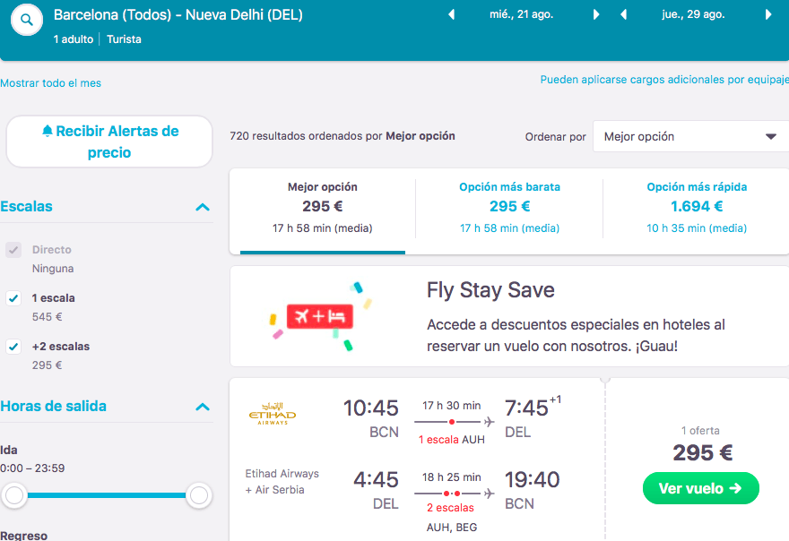 Vuelo tarifa error etihad india
