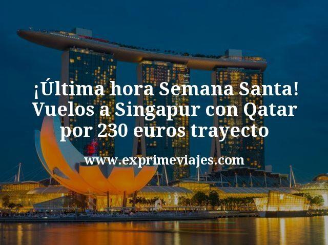 ¡Última hora Semana Santa! Vuelos a Singapur con Qatar por 230€ trayecto