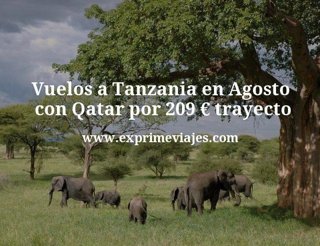 Vuelos a Tanzania en Agosto con Qatar por 209 euros trayecto