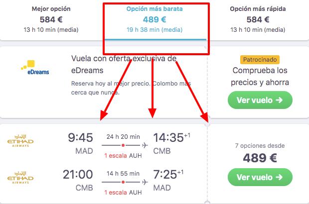 Vuelos baratos desde Madrid a Colombo con Etihad
