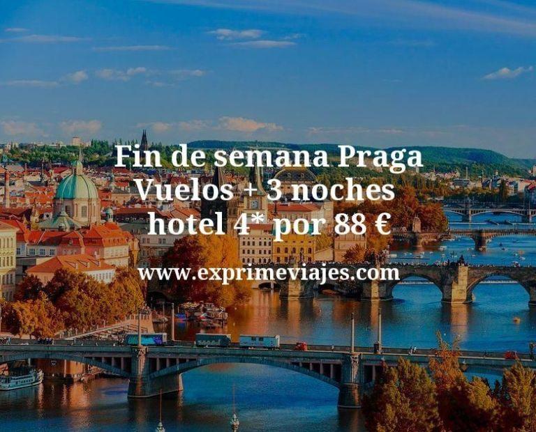 Fin de semana Praga: Vuelos + 3 noches hotel 4* por 88euros