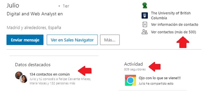Linkedin gestión contactos - el filtro contacto de 2