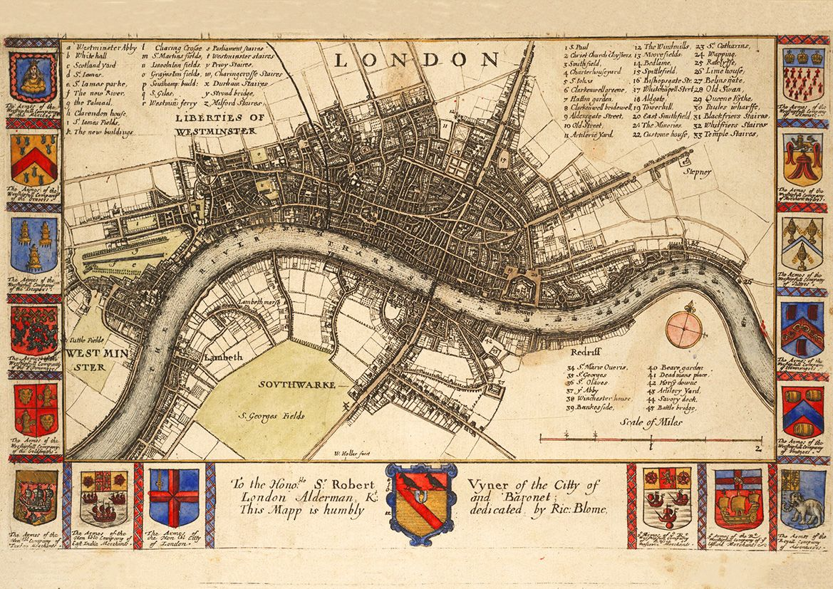 map of london england before the fire 17th century by wenceslaus hollar print poster 5271