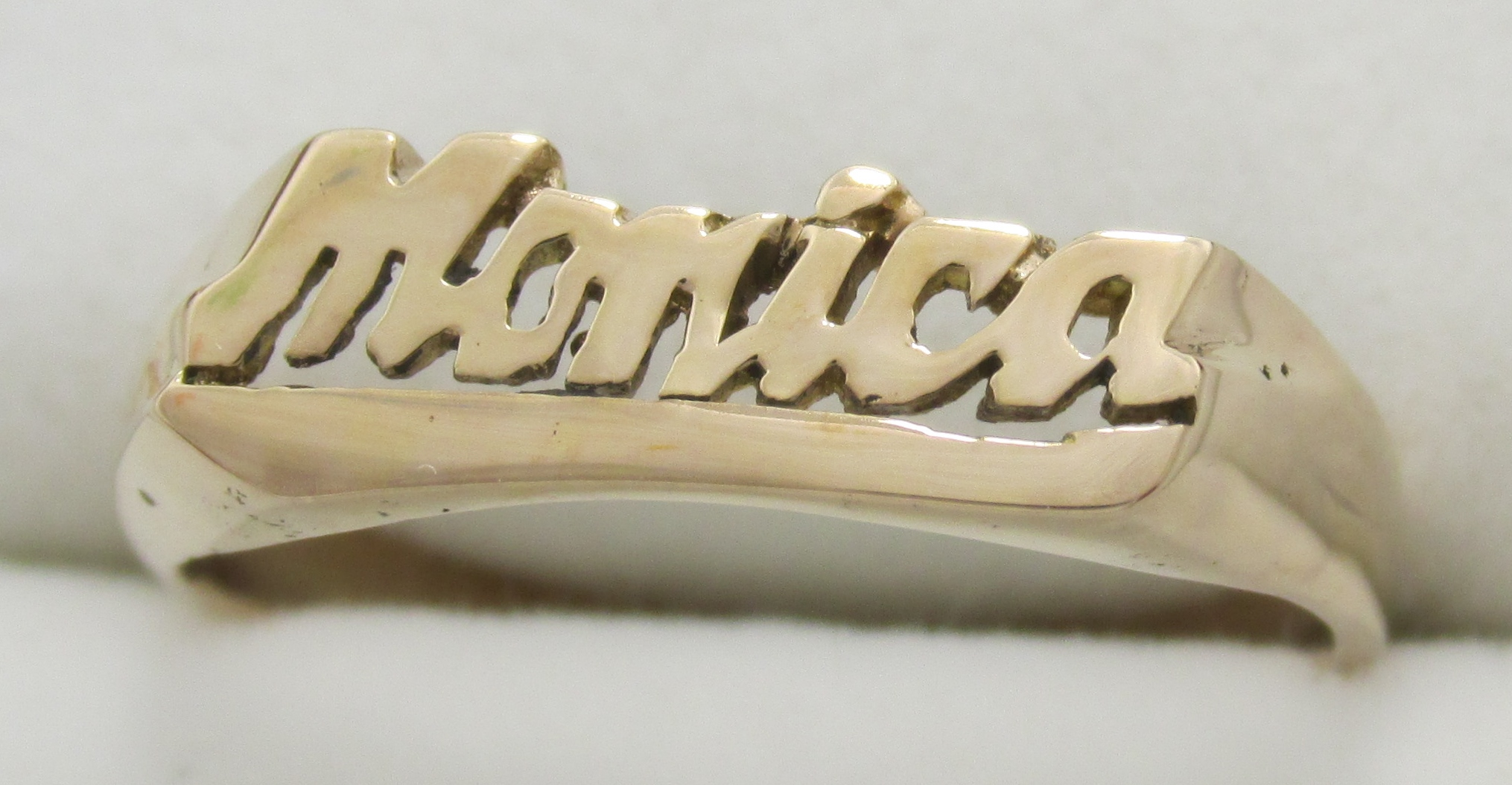14K Solid Yellow Gold Name Ring Shannon Monica Joyce