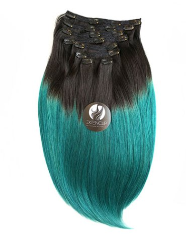 """20"""" OMBRE #1B/TEAL (Negro Natural con Teal)"""
