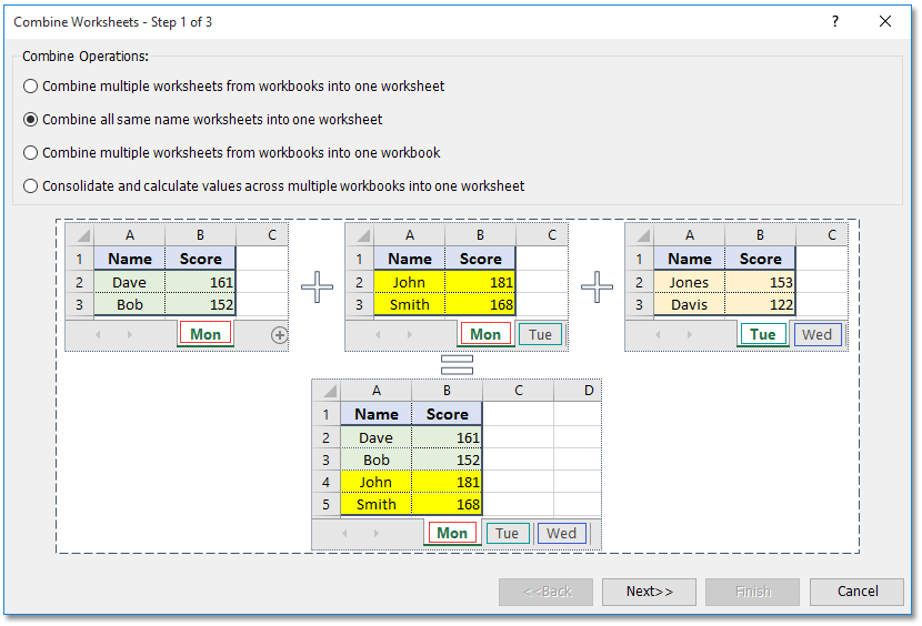 Quickly Merge Combine All Worksheets Of Same Name Across