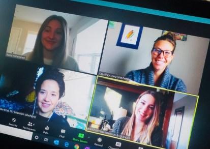 Four women on Zoom screen.