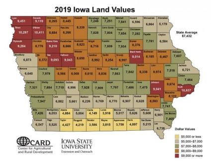 Iowa map showing 2019 land values.