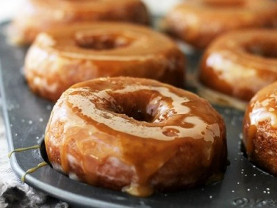 Salted Caramel-Glazed Pumpkin Donuts from  merrybrides