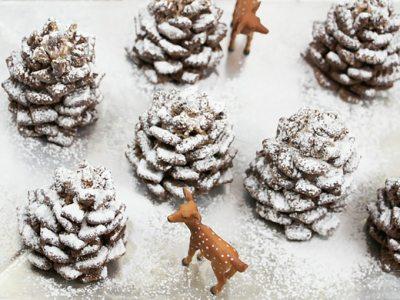 Snowy Chocolate Pinecones via handmadecharlotte