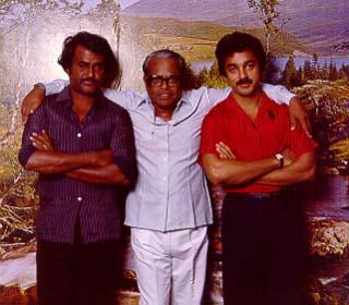 Rajini and kamal with director K. Balachander