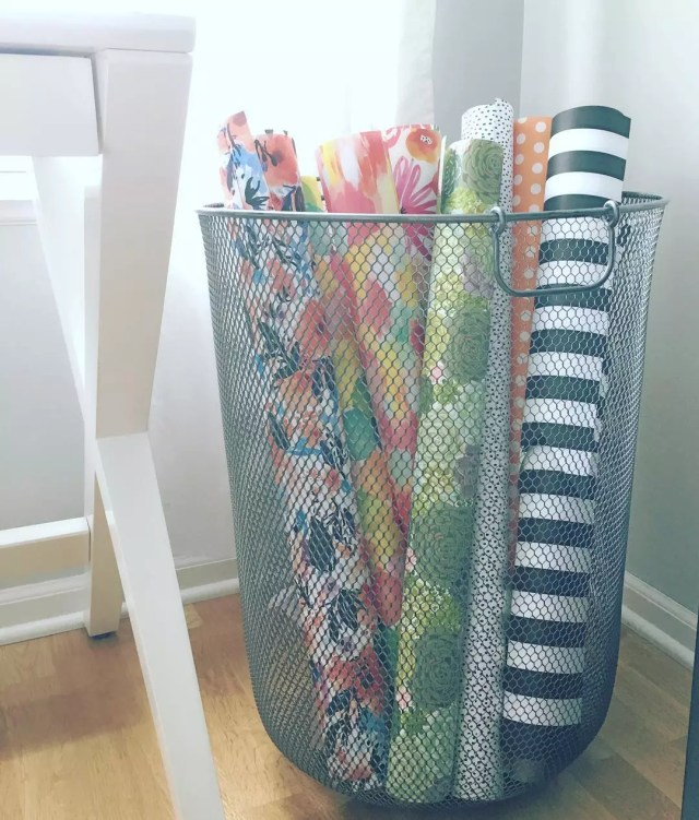 Wrapping paper in wire bin. Photo by Instagram user @mylittledesigncompany