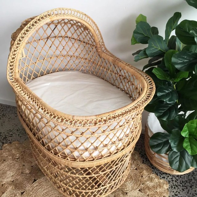 Rattan baby bassinet. Photo by Instagram user @therattancollective