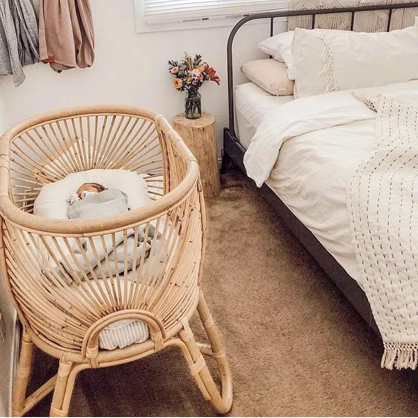 Baby bassinet in master bedroom