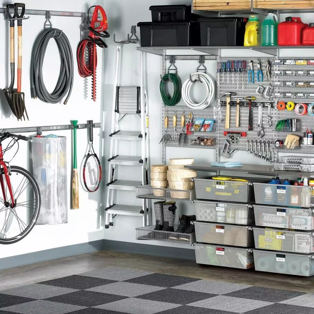 Organized garage tool area. Photo by Instagram user @thecontainerstore