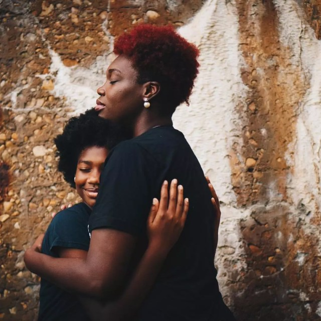 Mom and son hugging. Photo by Instagram user @sarina_elder