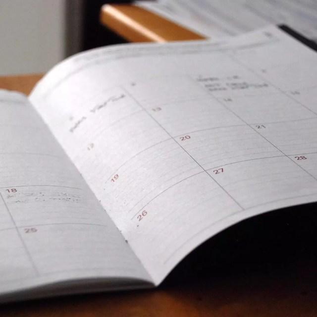 White calendar open on desk. Photo by Instagram user @specialopscleanteam