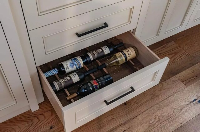 Wine drawer in kitchen. Photo by Instagram user @jewettfarms